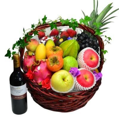 Mid-Autumn Festival Fruits Hamper with Red Wine (Medium)