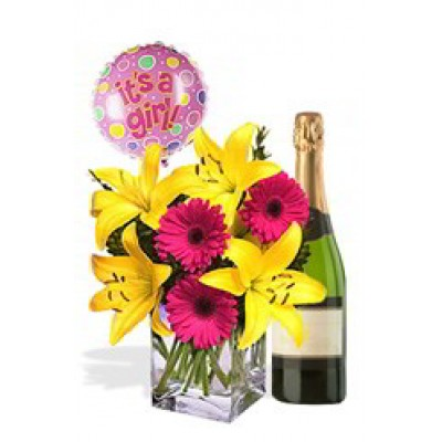 Asiatic and Gerbera Package White Wine and  Its a GIRL Helium Balloon