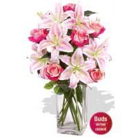 Oriental Bouquet , 5 Lily and 6 Rose Vase Bouquet