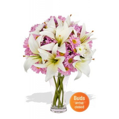 Lily and Chrysanthemum Vase Bouquet