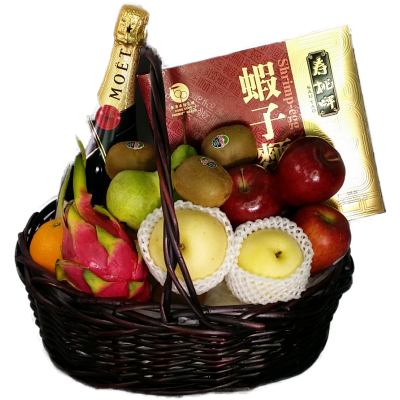 Mid Autumn Festival Fruits Hamper with Champagne and Shrimp-egg Noodle